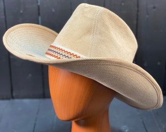 Size Medium, 1970s hat, corduroy hat, tan cowboy hat, vintage cowboy hat, vintage cowgirl hat, FREE USA SHIPPING