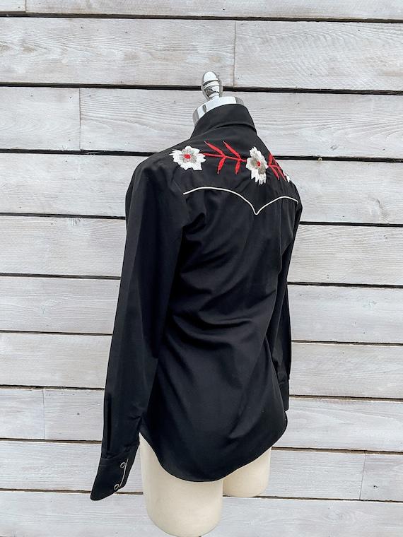 small, pearl snap shirt, western shirt, 1970s wes… - image 4