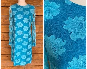 medium, 1960s dress, blue dress, mod dress, excellent condition, FREE USA SHIPPING