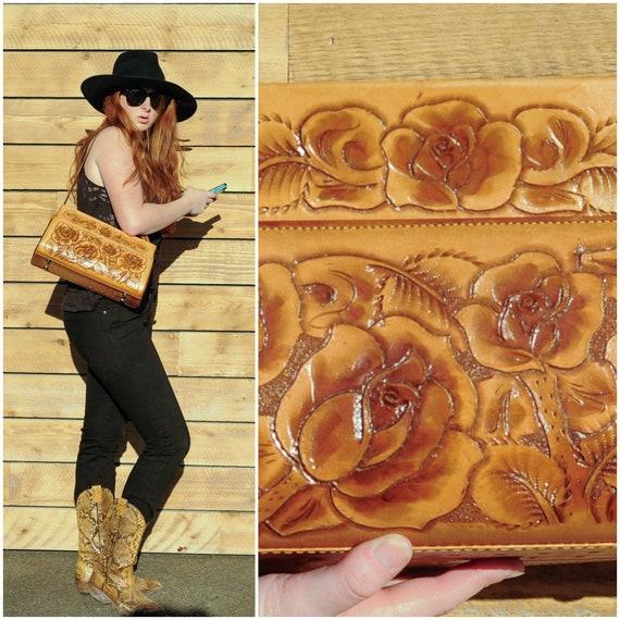 vintage tooled leather hand bag nfr bag western ba