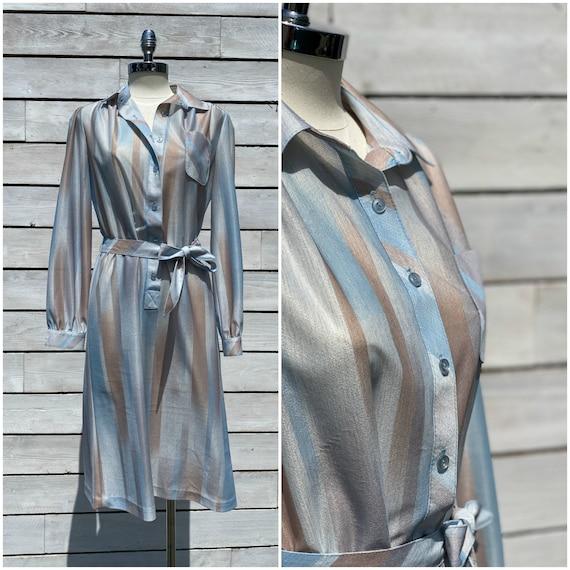 medium vintage shirtdress, striped shirtdress, 197