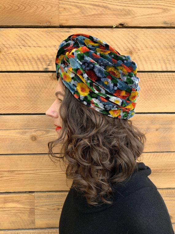 small, vintage turban, velvet hat, floral hat, 196