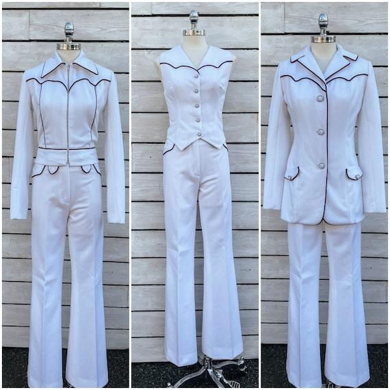 size 2, 1950s western suit, white womens suit, pol