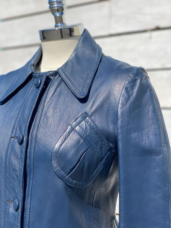 XS, leather trench coat, 1970s trench coat, FREE … - image 7