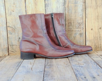chelsea boots  ankle boots leather boots leather boots men Beatle boots 1960s boots 1970s boots 70s 60s brown boots