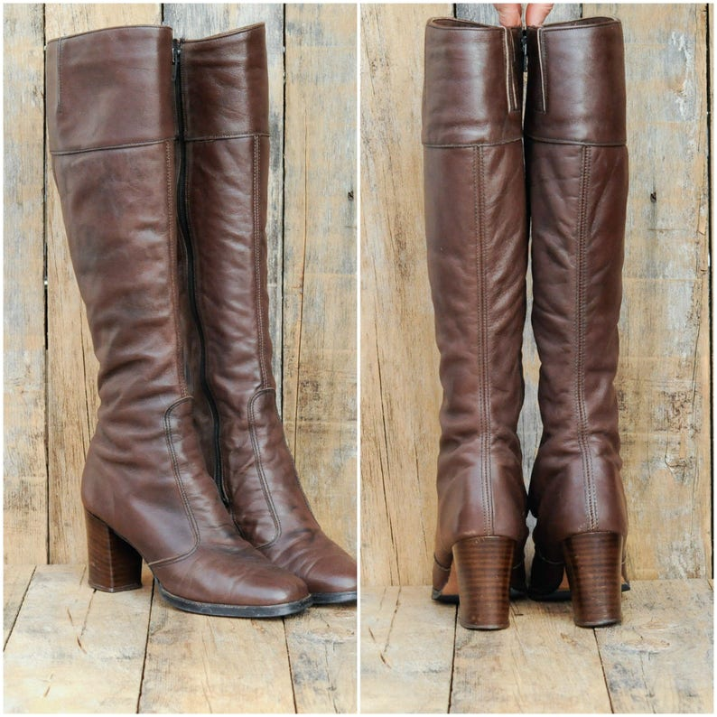 1430f923b55 Us 5, 1960s boots, mod boots, high heel boots, leather boots women, Nickels  brand, leather USA made, excellent condition, FREE SHIPPING