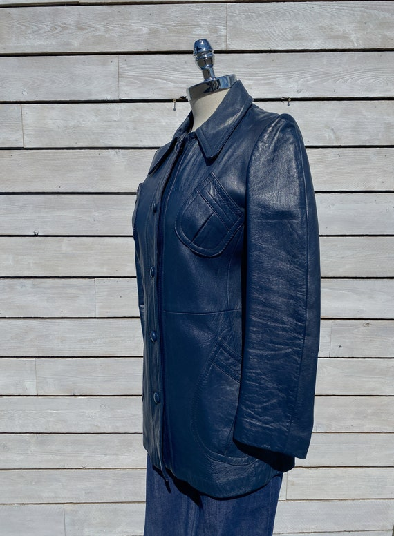 XS, leather trench coat, 1970s trench coat, FREE … - image 3