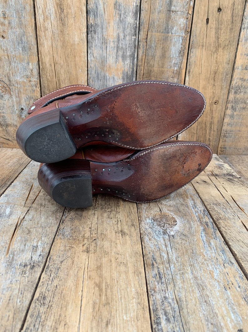 Us 8.5 excellent condition vintage cowboy boots lizard skin ankle boots custom made boots FREE SHiPPiNG