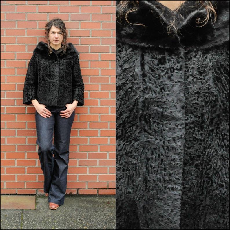 99f669e10 Medium 1950s Persian wool fur coat trimmed in black mink fur | Etsy