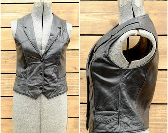 leather vest womens vest vintage vest 80s vest 80s clothing 90s clothing 90s vest
