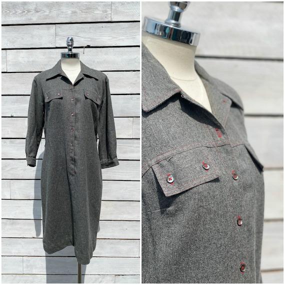 Large, 1950s shirtdress, western dress, excellent
