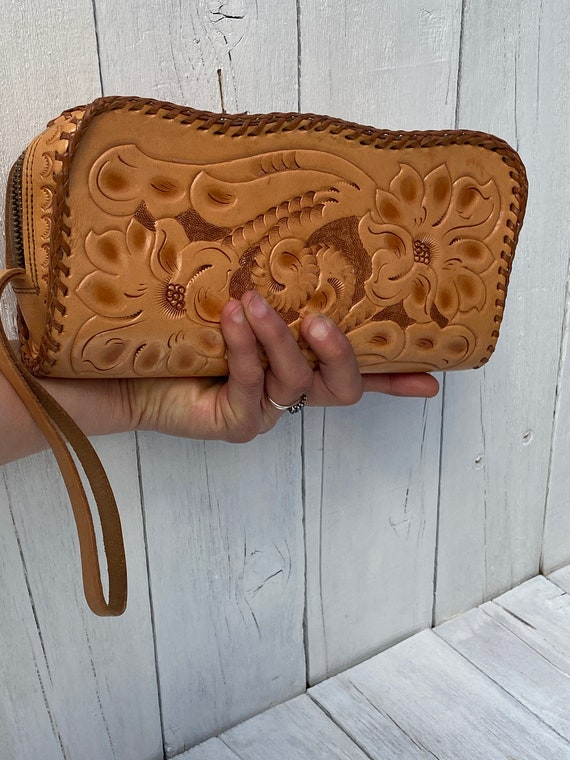1950s, Tooled leather clutch, western clutch, FREE