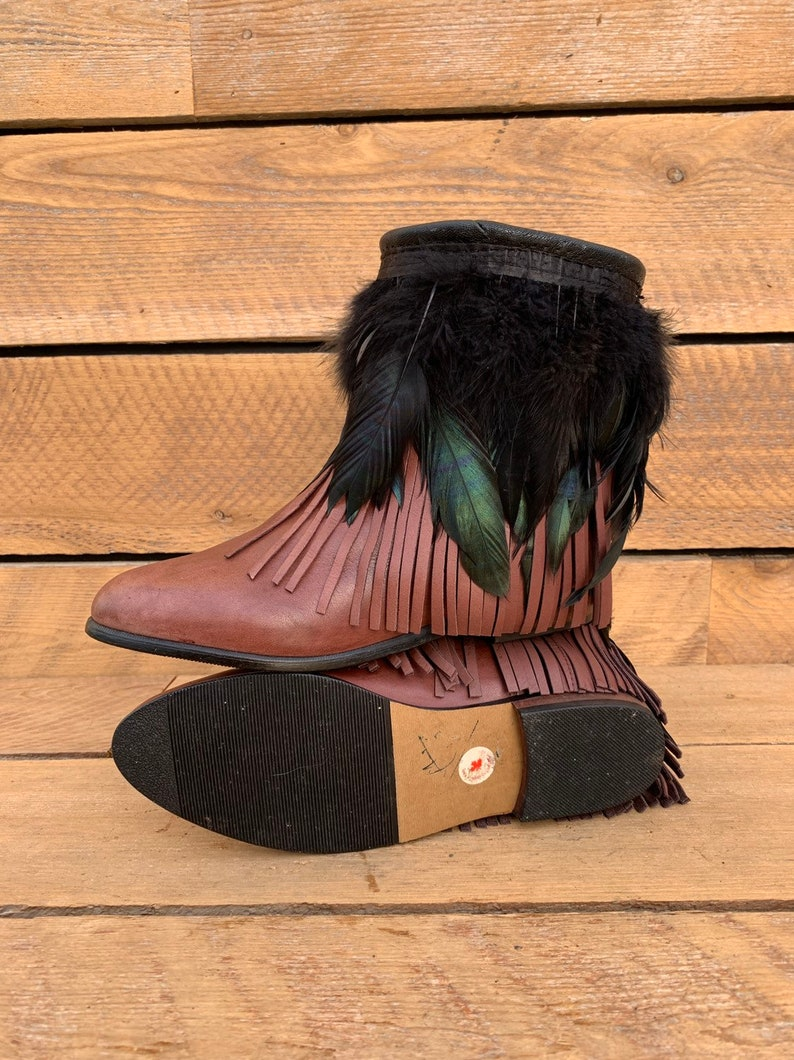 803e3619a7f Us 8.5 custom Boho boots fringe ankle boots upcycled boots cowgirl boots  FREE SHiPPiNG bohemian boots womens boho boots ready-to-ship