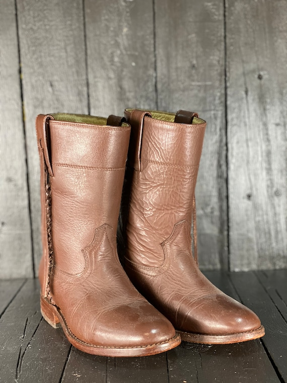 Size 8, womens western boot, vintage cowgirl boot,
