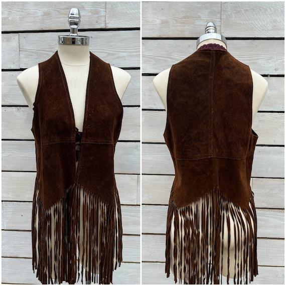 Med, 1960s fringe vest, suede fringe vest, FREE US