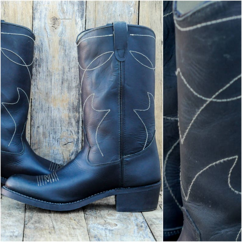ee4a0243f85 Us 10, vintage cowboy boots, motorcycle boots, leather upper and vibram  soles, USA made in excellent condition, FREE SHIPPING