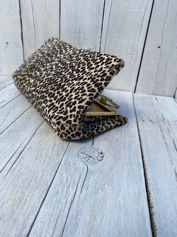 cheetah print handbag, vintage clutch, cheetah clu