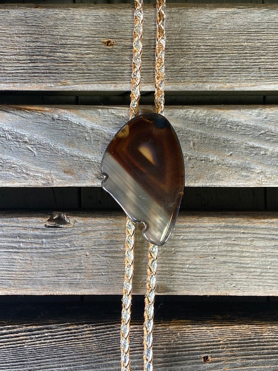 bolo tie necklace, polished stone bolo tie, wester