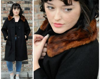 8 long black coat 1950 M long coat,mink fur trim coat usa midcentury coat midcentury long coat 1960 M long coat 8 long winter coat M long
