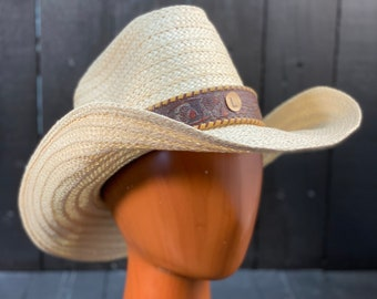 Size Large, straw cowboy hat, custom straw hat, white straw hat, vintage cowboy hat, custom cowboy hat, large straw hat, FREE USA SHIPPING