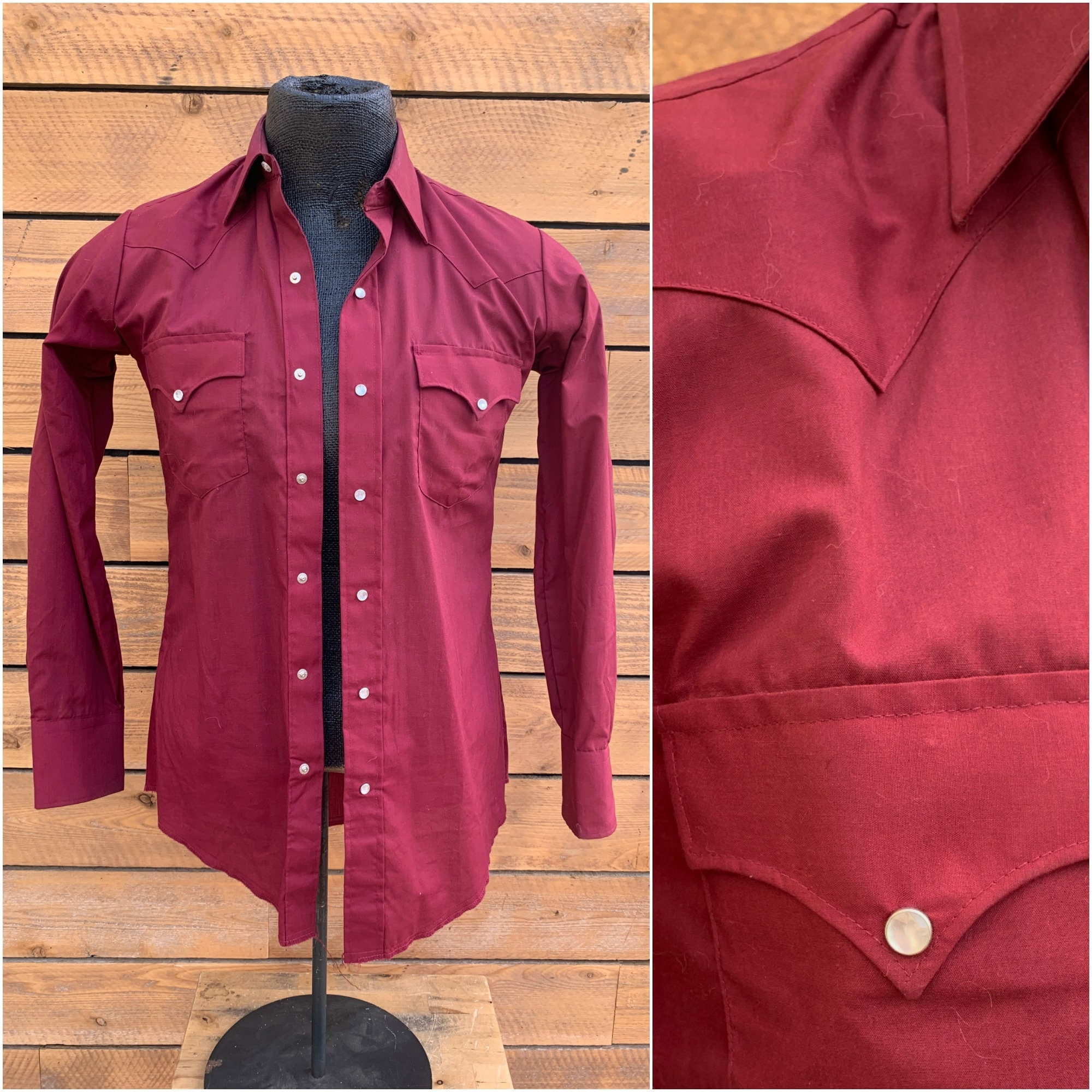 1970s Men's Shirt Styles – Vintage 70s Shirts for Guys Medium, Vintage Ely Plains Pearl Snap, 1970S Western Shirt, Red Snap Free Usa Shipping $68.00 AT vintagedancer.com