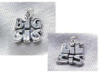 //1 11236 Sterling Silver Lil Sis Heart Charm 13.5x10mm 1pc