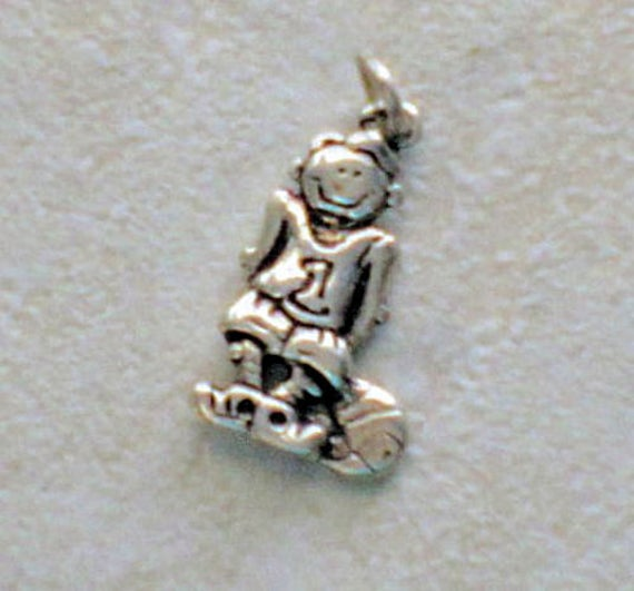Sterling Silver Antiqued Basketball Player Charm