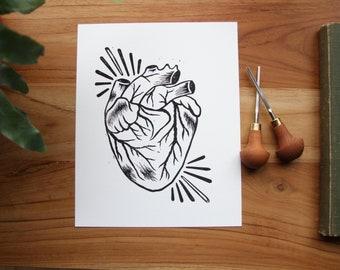 Anatomical Heart Linoprint