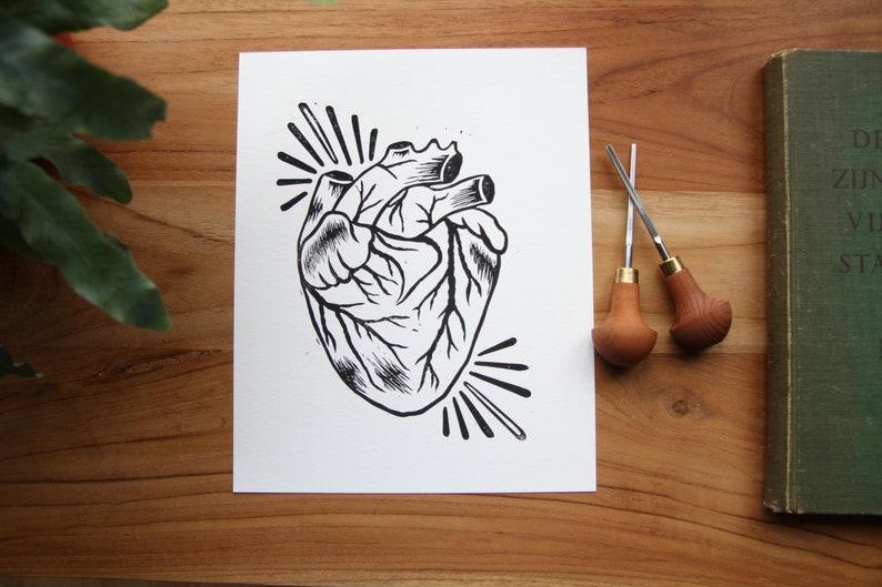 Anatomical Heart Linoprint image 1