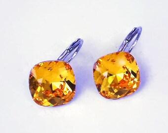 Swarovski crystal 12mm square fancy stone golf earrings,sparkling light topaz,silver rhodium pl. elegant setting,bright yellow