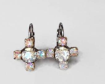 Elegant Swarovski Crystal 6mm round fancy stone earrongs crystal moonlight and clear crystalAB