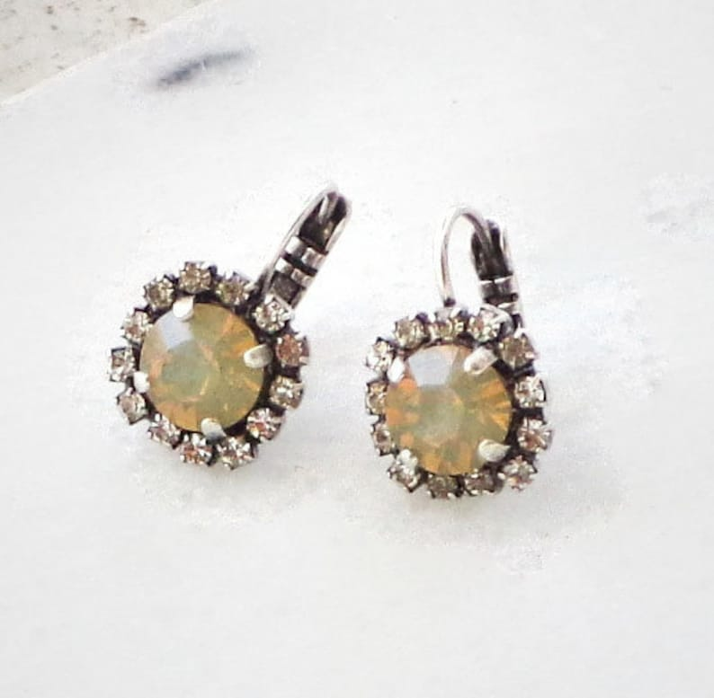 3253af5c884a1 Swarovski crystal 8mm fancy drop earrings sand opal accented with clear  crystals,antique silver setting,stylish women's jewelry