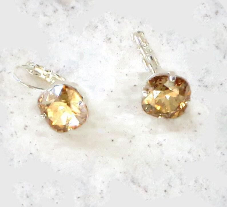 19d10783a Swarovski crystal mini fancy square stone earrings golden | Etsy