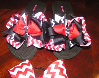 0d81b6fcafd6 Custom Boutique Ribbon Pageant flip flops any size women and children pick  your colors