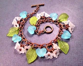 SALE - Flower Charm Bracelet, White Blossoms and Blue Hearts, Copper Beaded Bracelet, FREE Shipping U.S.