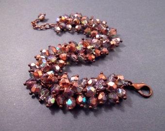 Copper Cha Cha Bracelet, Champagne, Half Mirrored Glass Beaded Bracelet, FREE Shipping U.S.