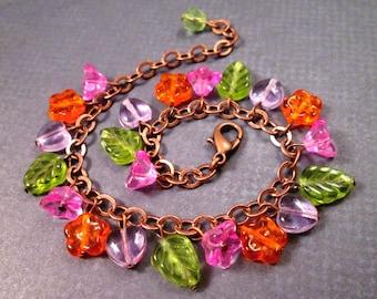 Flower Charm Bracelet, Bright Bouquet, Pink Purple Orange Green Glass Beaded Bracelet, Copper Chain Bracelet, FREE Shipping U.S.
