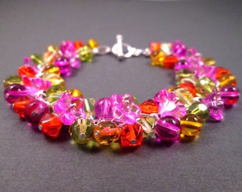 Silver Cha Cha Bracelet, Tropical Bouquet, Colorful Flower Charm Bracelet, FREE Shipping U.S.