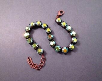 Rhinestone Bracelet, Fire Polished Aquamarine Green, Glass Rhinestone and Copper Beaded Bracelet, FREE Shipping U.S.
