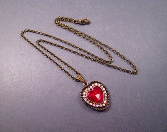 Rhinestone Heart Necklace, Red and White Glass Stones Pendant Necklace, Brass Chain Necklace, FREE Shipping U.S.