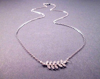 Leaf Vine Necklace, Cubic Zirconia Pendant, Silver Chain Necklace, FREE Shipping U.S.