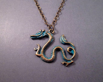 Dragon Necklace, Verdigris Patina Finish, Brass Chain Necklace, Unisex Necklace, FREE Shipping U.S.