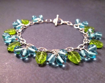 Blueberry Bracelet, Silver Chain Bracelet, Berry Blue and Leaf Green Beaded Bracelet, FREE Shipping U.S