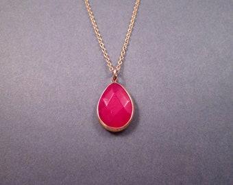Gemstone Pendant Necklace, Raspberry Jade Teardrop Bezel, Gold Chain Necklace, FREE Shipping U.S.