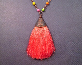 Tassel Necklace, Apricot Rayon Tassel Pendant, Rainbow Glass Beaded Copper Chain Necklace, FREE Shipping U.S.