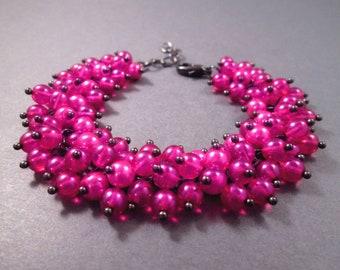 Pink Cha-Cha Bracelet, Fuschia Glass Beaded, Gunmetal Silver Charm Bracelet, FREE Shipping U.S.