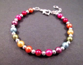 Rainbow Pearl Bracelet, Heart Clasp, Colorful and Silver Beaded Bracelet, FREE Shipping U.S.