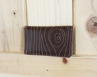 Faux Bois ) New Slim Wallet with Zippers