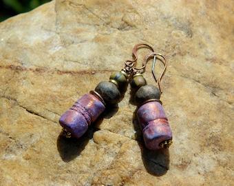 Boho Stoneware Clay Bead Earrings