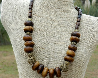 Exotic African Brass and Batik Bone Bead Necklace